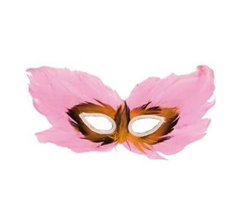Partyline Venetian Mask Pink | Pink Eye mask with feathers