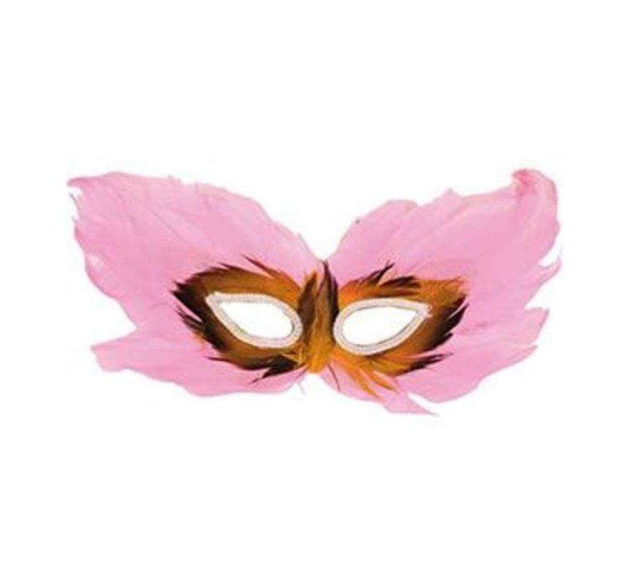 Masque vénitien rose | Masque pour les yeux rose avec des plumes
