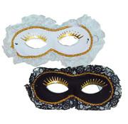 Partyline Duo Venetiaans Masker wit/zwart | 2 Venetiaanse Maskers
