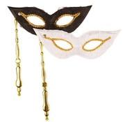 Partyline Masque vénitien sur baton Duo blanc / noir | 2 masques vénitiens
