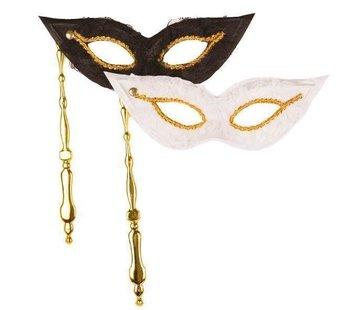 Partyline Masque vénitien sur baton Duo blanc / noir   2 masques vénitiens