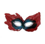 Partyline Masque vénitien rouge | Masque pour les yeux rouge avec des plumes
