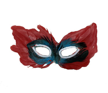 Partyline Venetian Mask Red   Red Eye mask with feathers