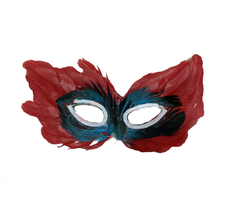 Masque vénitien rouge   Masque pour les yeux rouge avec des plumes