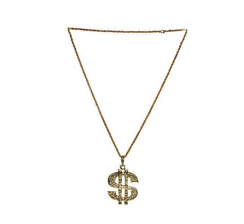 Deluxe Dollar Halsketting Goud | Disco  Dollar Halsketting