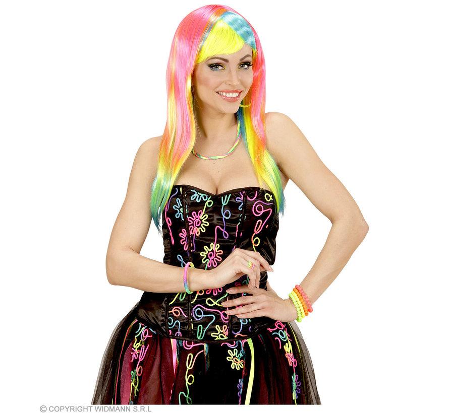 Neon Fashion Pruik | Neon pruik dames