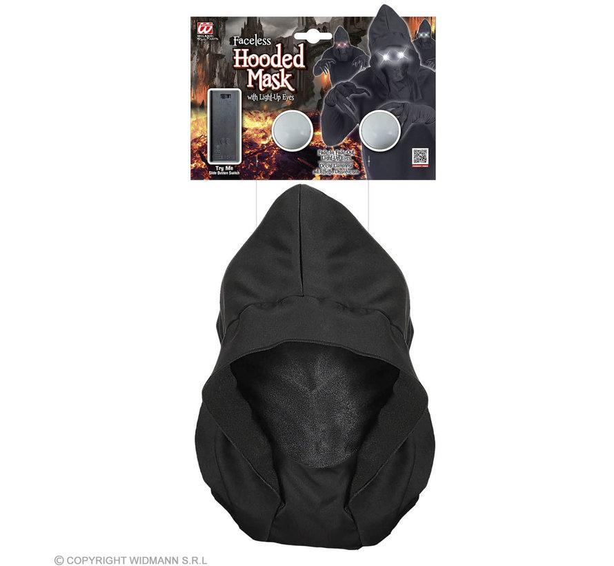 Zwart spook masker met heldere ogen | Halloween masker