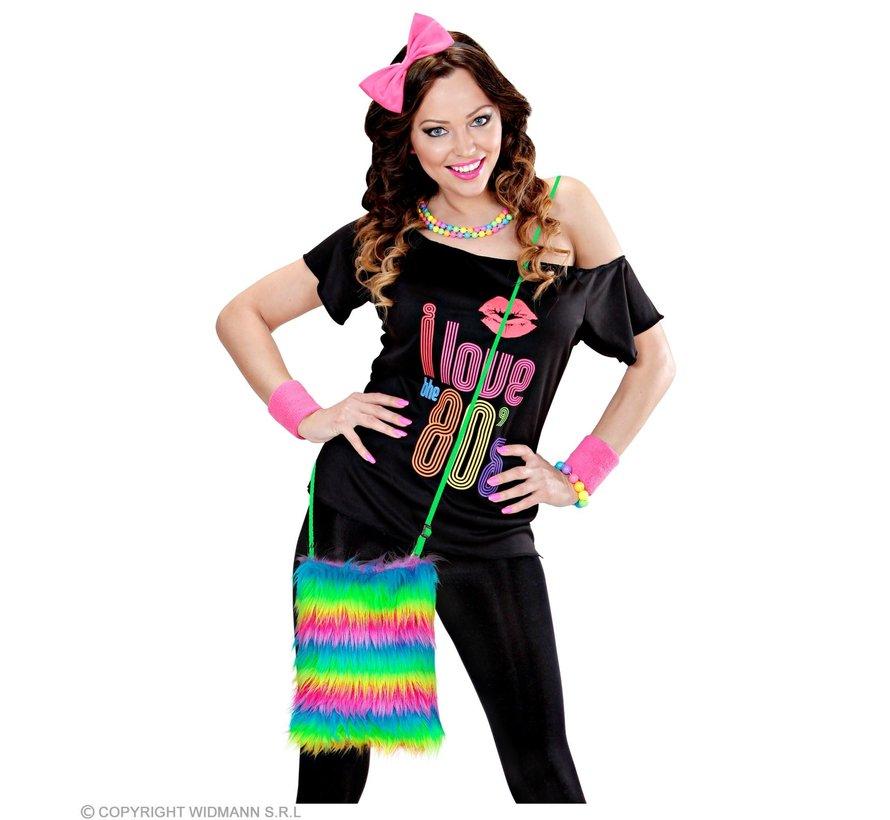 Rainbow neon plush bag | Neon dress up accessory 80's