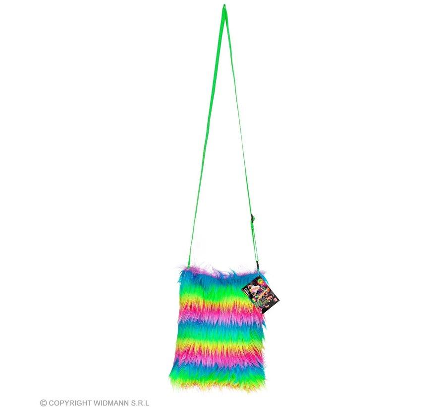Regenboog neon pluche tas| Neon verkleed accessoire 80's