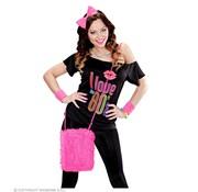 Widmann Pink neon plush bag | Neon dress up accessory 80's