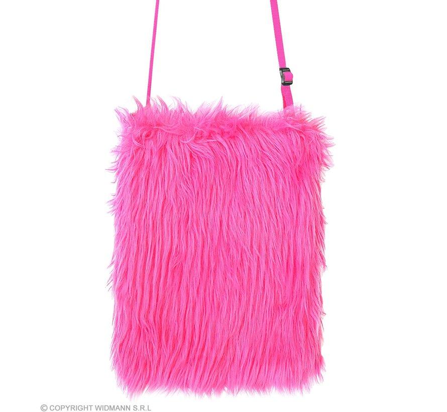 Roze neon pluche tas| Neon verkleed accessoire 80's
