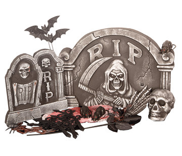 Partyline Halloween 24 delige Grafsteen set | Griezelset  | Halloween decoratie