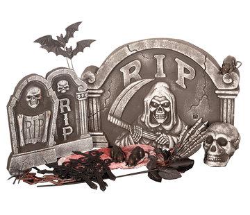 Partyline Halloween 24-piece Tombstone set   Creepy Set   Halloween decoration