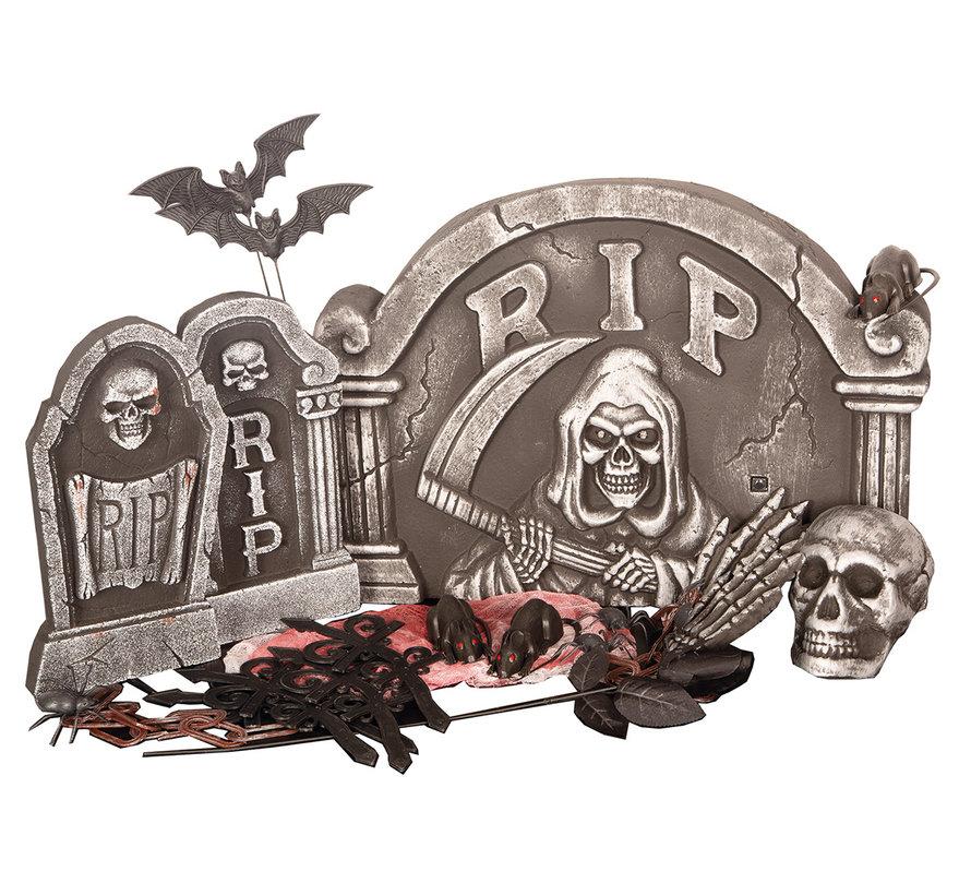 Halloween 24 delige Grafsteen set   Griezelset    Halloween decoratie