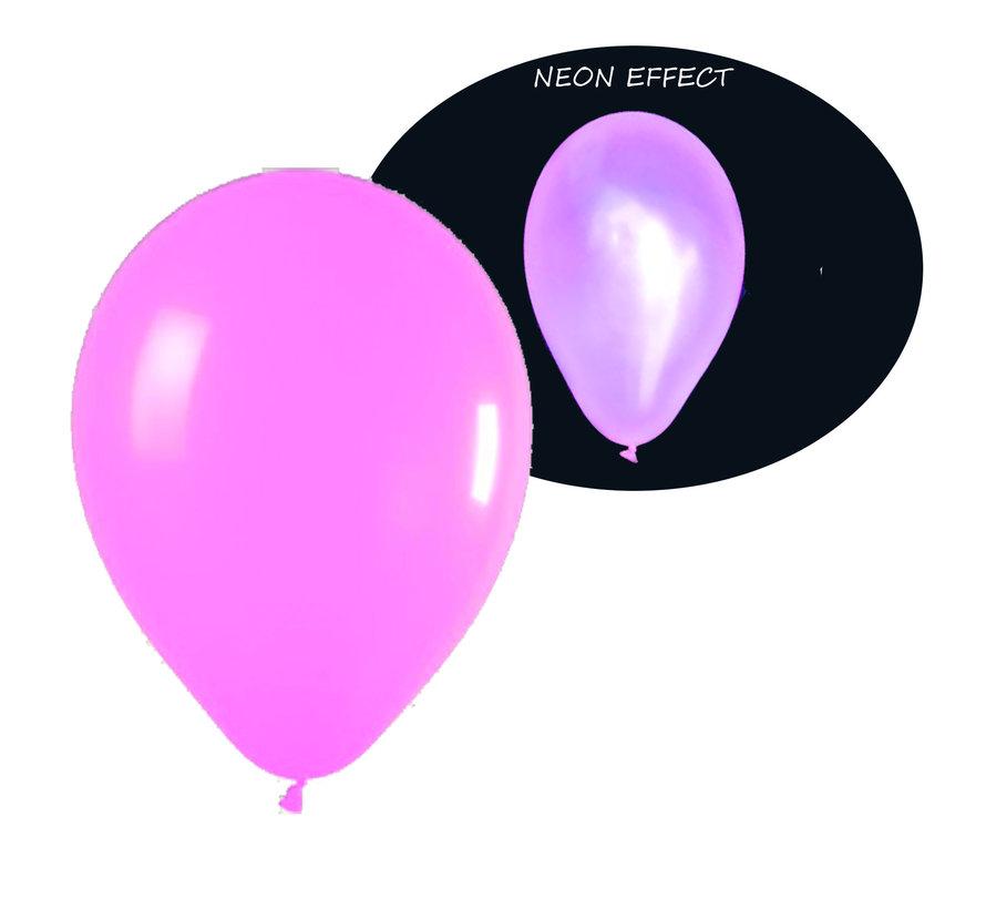 Ballons roses fluo UV - 100 pièces | Ballons de fête UV