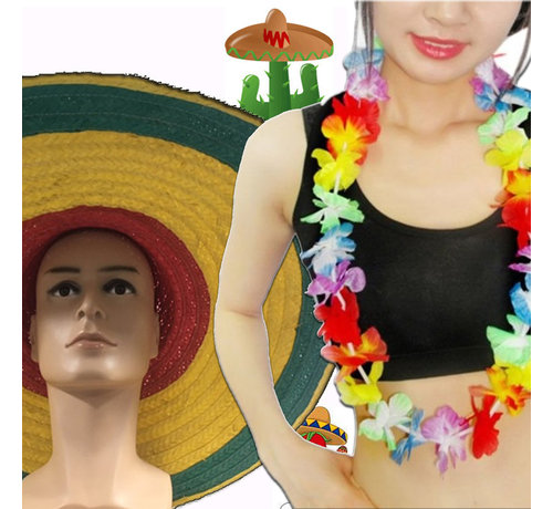 Breaklight.be 12 pieces Summer Party pack   Hawaii garlands   Sombrero