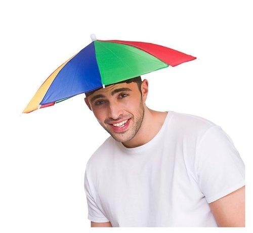 Wicked Costumes  Kleurrijke Hoofdparaplu  | Hoofdparasol | Paraplu hoed