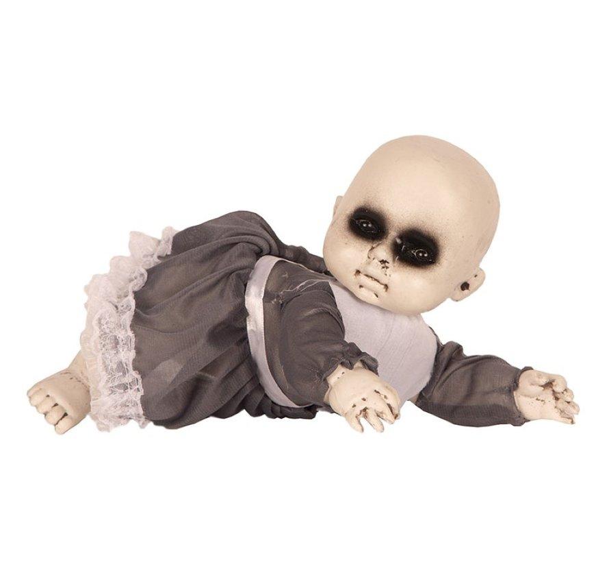 Halloween Baby met jurk | Horror baby 17 cm | Halloween decoratie