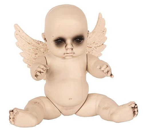 Partyline Halloween Baby met vleugels | Horror baby 28 cm | Halloween decoratie