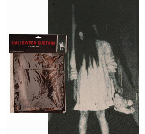 Partyline Halloween gordijn griezel meisje   Gordijn 75x160cm   Halloween decoratie