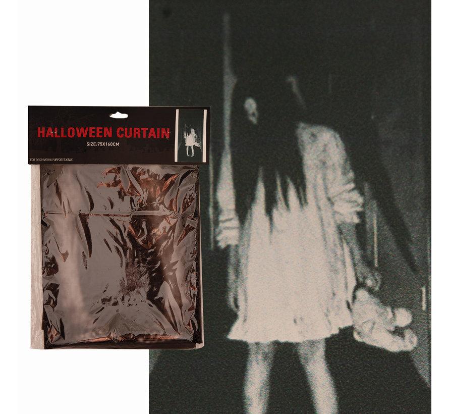 Halloween gordijn griezel meisje   Gordijn 75x160cm   Halloween decoratie