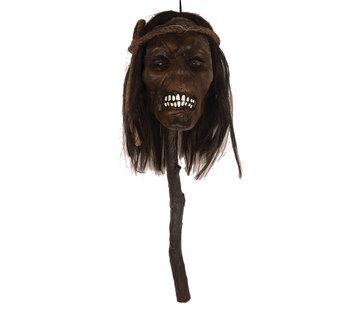 Partyline Afgehakt hoofd op stok 48 cm met licht | Halloween decoratie