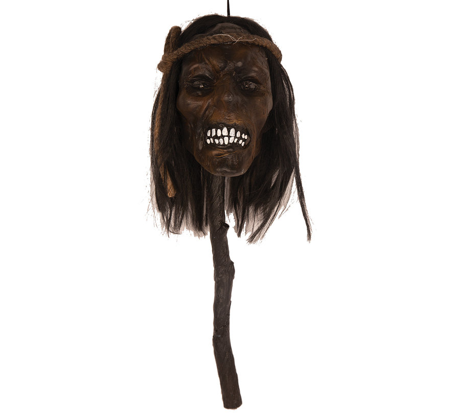 Afgehakt hoofd op stok 48 cm met licht | Halloween decoratie