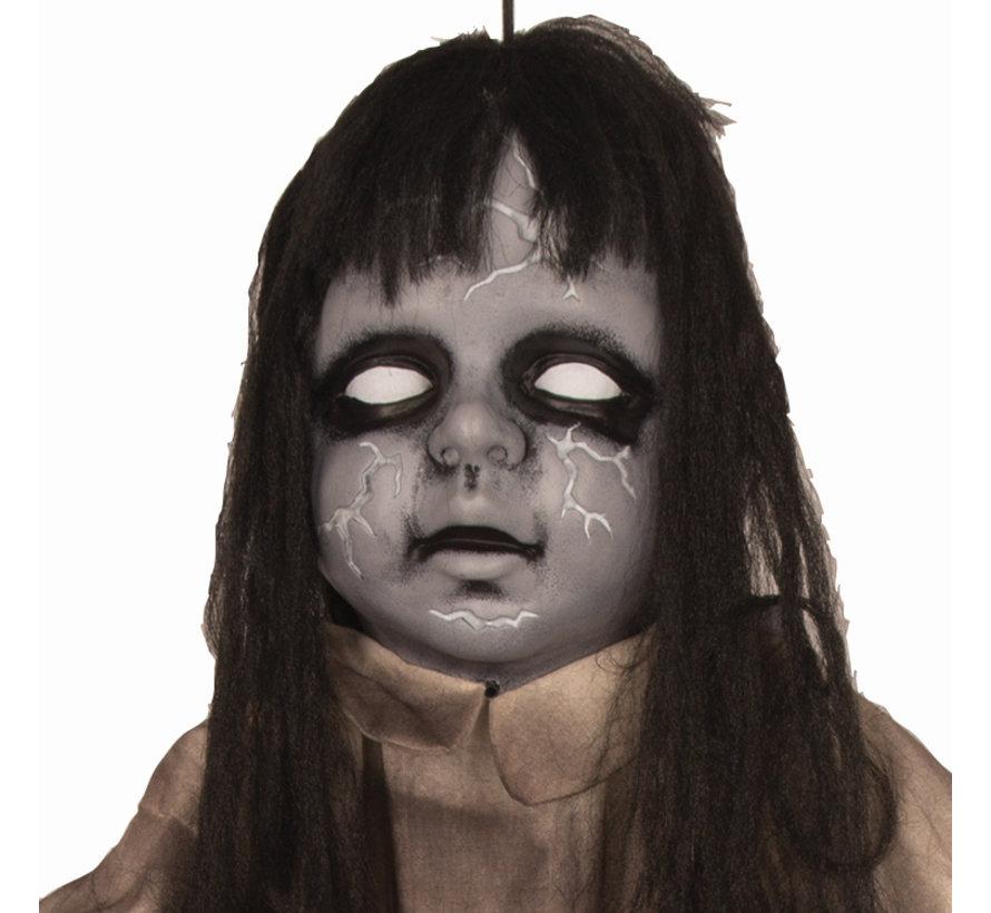 Zombie meisje 120 cm met licht en geluid  | Deco Halloween hangpop