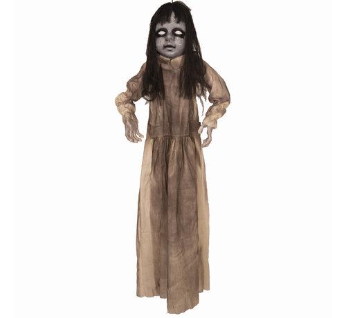 Partyline Zombie meisje 120 cm met licht en geluid  | Deco Halloween hangpop