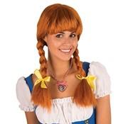 Partyline Pruik Heidi | Bruine Tiroler Pruik | Pruik Oktoberfest