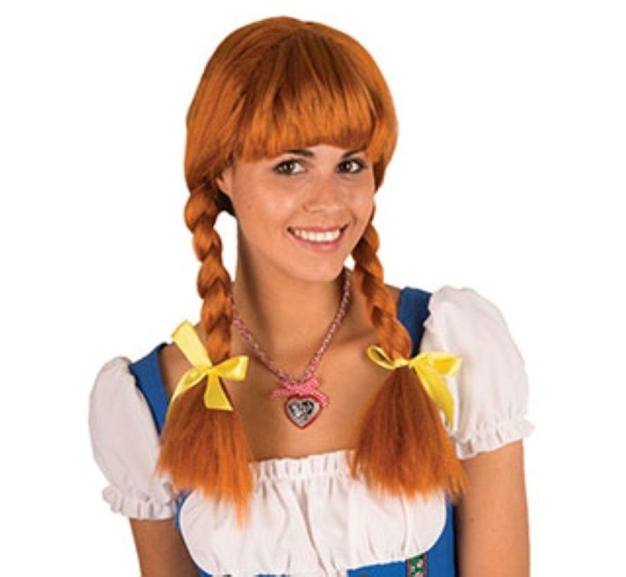 Wig Heidi | Brown Tyrolean Wig | Oktoberfest wig