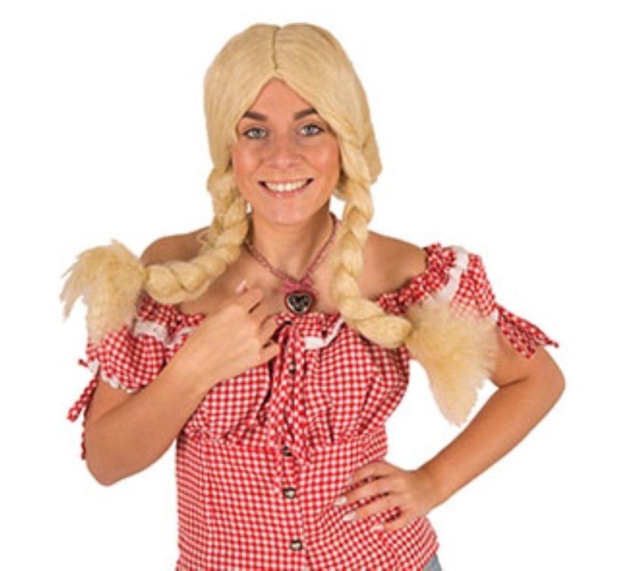 Pruik Heidi | Blonde Tiroler Pruik | Pruik Oktoberfest