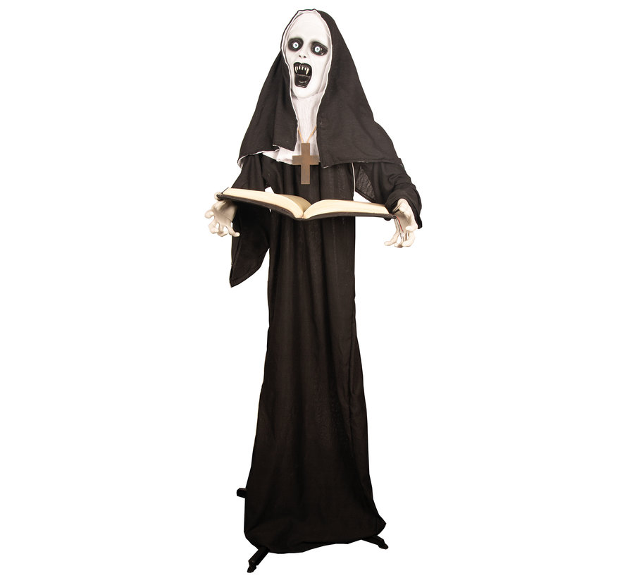 Halloween nun 165 cm with light and sound | Deco Halloween standing doll