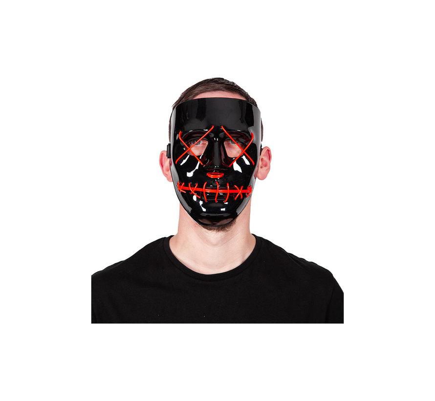 El Wire Masker The Purge | Halloween Zwart masker met rode verlichting