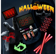 Breaklight.be Halloween 220 pièces Horror Glow @ Home package | Bracelets lumineux rouges | Paintglow Blood 10 ml | Dents Dracula Glow in the dark