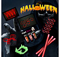 Halloween 220 pcs Horror Glow @ Home package   Red glow bracelets   Paintglow Blood 10 ml   Glow in the dark Dracula teeth