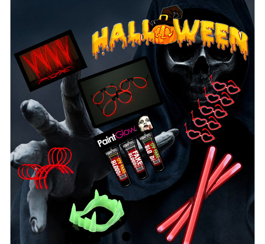 Halloween 220 pièces Horror Glow @ Home package | Bracelets lumineux rouges | Paintglow Blood 10 ml | Dents Dracula Glow in the dark
