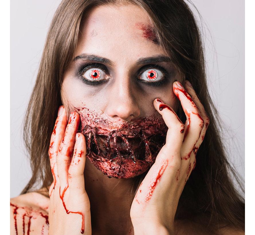 Bloody zombie witte lenzen   Witte kleurlenzen zonder sterkte    Halloween daglenzen