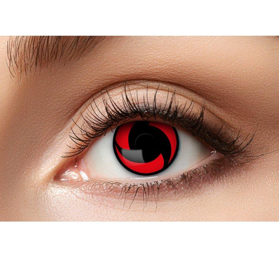 Lentilles de couleur Sharingan Mangekyou | Lentilles de contact rouges | Lentilles d'Halloween pour 3 mois d'utilisation