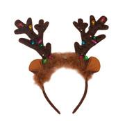 Partyline Diadème de renne avec lumières et cloches | Diadème de Noël