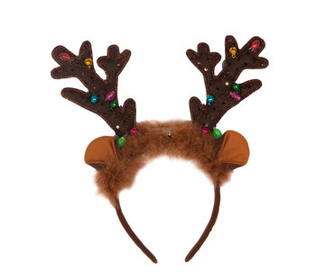 Partyline Reindeer Diadem with lights and bells | Christmas diadem