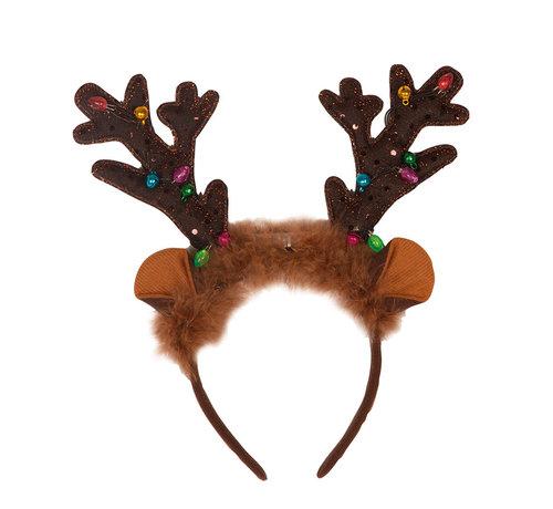 Partyline Diadème de renne avec lumières et cloches   Diadème de Noël
