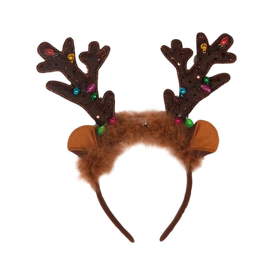 Diadème de renne avec lumières et cloches   Diadème de Noël