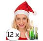 12 chapeaux de Père Noël rouge + verre à champagne   Bonnet de Noel   Santa   Noël
