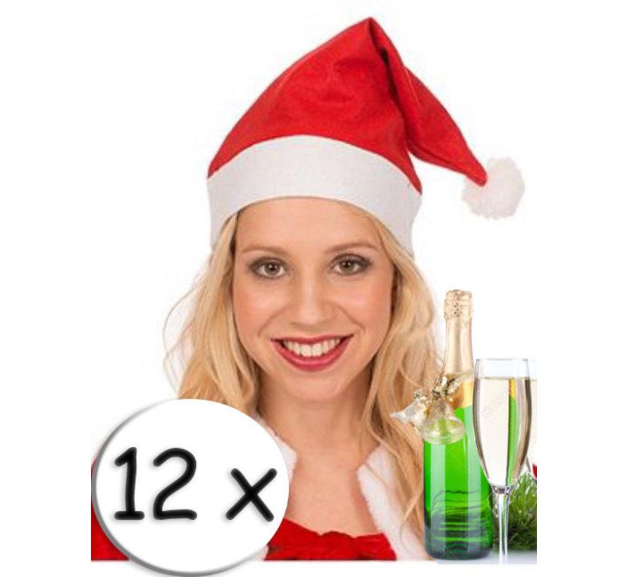 12 Rode Kerstmutsen + champagneglas   Kerstmuts   Kerstman    Kerstfeest
