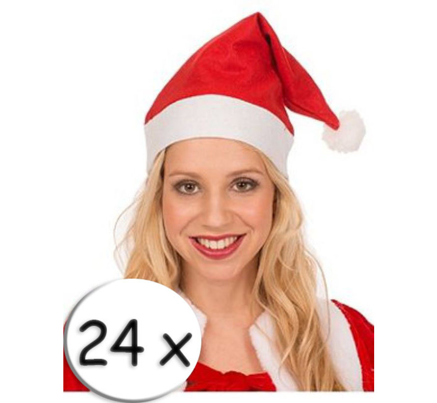 24 Rode Kerstmutsen +  2 champagneglazen | Kerstmuts | Kerstman  | Kerstfeest