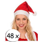 Breaklight.be 48 chapeaux de Père Noël rouge + 4 verres à champagne | Bonnet de Noel | Santa | Noël
