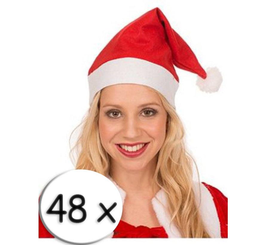 48 Rode Kerstmutsen +  4 champagneglazen | Kerstmuts | Kerstman  | Kerstfeest