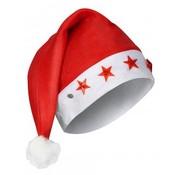 Partyline 6 stuks Kerstmutsen met 5 sterlichtjes | Rode kerstmuts | Kerstmis