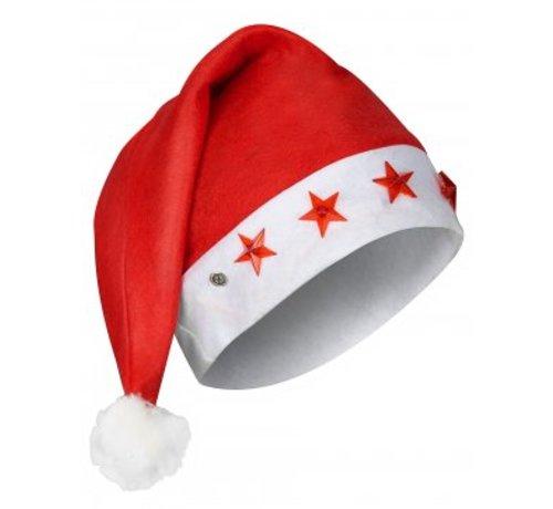 Partyline 6 pcs Santa hats with 5 star lights | Red Santa Hat | Christmas